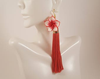 Red tassel earrings, fringe earrings, red earrings, red statement earrings, gift for girlfriend, gift for mom, gift for women, gift for wife