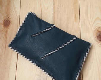 Leather clutch Navy leather clutch Small leather handbag Evening clutch Zipper wallet Leather cell phone Pouch Evening bag