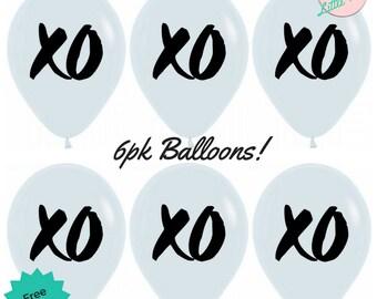 Black & White Monochrome Balloons 6pk XO Party Balloons Decoration
