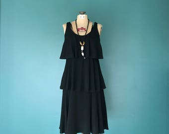 Tiered Dress, Casual Black Dress, Ruffle Dress, Black Midi Dress, Mid Length Dress, Little Black Dress, Minimalist Dress, Size Medium