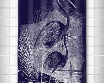 Vintage Egrets Shower Curtain, Tropical Shower Curtain, Beach Shower Curtain, Shore Birds Shower Curtain, Bird Bath Decor