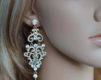 Dramatic Vintage Inspired Crystal Rhinestone and Pearl Yellow Gold Chandelier Earrings, Bridal, Wedding (Pearl-826)