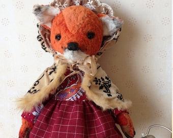 Handmade fox Plush fox Teddy fox Stuffed bear Plush bear  Collection teddy bear Stuffed fox