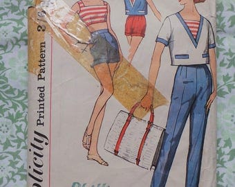 1960s Beach Outfit Simplicity Vintage Sewing Pattern, Summer Shorts with Crop Top, Nautical Top with Capri Pants & No 2994, 36in Bust