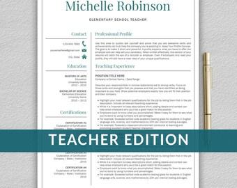 Teacher Resume Template for Word   Resume Teacher, Elementary Resume, Teaching Resume, CV Teacher