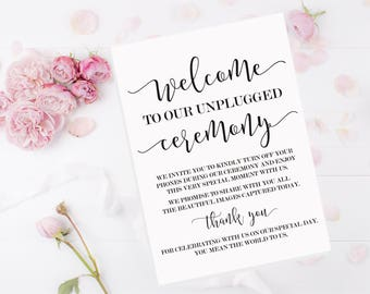 Unplugged Wedding Sign - Unplugged Ceremony Sign - Wedding Sign - Unplugged Wedding - Wedding Welcome