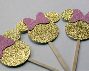 Pink and Gold Minnie Mouse Cupcake Toppers