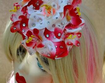 Pillbox Hat Fascinator Flowers Fleurs Strass Rhinestones Glitter Millinery