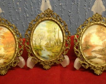Three Vintage Silk Miniature Italian Scenes from 1950s