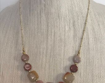 Natural Stone Necklace   Tan, Rust, Orange & Cream   Stone Jewelry   Natural Jewelry   Layering Necklace   Statement Necklace   Gold