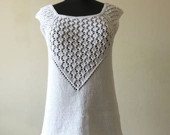 White Handknit Lace Summer Top, Knit Sweater, Lace Tank, Romantic