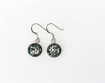 Round Split Mother Of Pearl, Swarovsky Crystal, Sterling Silver Ear Wire, Black(Jet) Color, Korean Unique Style