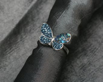 Butterfly Ring, Tiny Swarovsky Crystals, Split Mother of Pearl, Pave Radience Ring, Montana(Navy) Color, Adjustable Ring, Unique Style