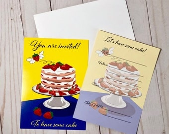 Birthday Invitation Cards, Kids Birthday Invitations, Strawberry Cake Party, Kids Party Invite Cards, Strawberry Lover, Kids Invitations