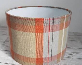 Tartan lampshade, orange and grey tartan, lamp shade, table lamp, ceiling shade, prestigious textiles fabric, drum shade, light fitting,