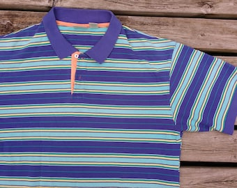 Vintage 90's Pastel L.L. Bean Made in USA Polo Golf Shirt Striped Teal Green Pink Peach Blue Large