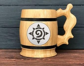 Hearthstone Wooden Mug. World Of Warcraft Gifts. WOW Gift. Wood Beer Mug. Engraved Mug. Personal Gifts for Men. Beer Tankard. Gamer Gift K65