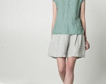 NEW Linen top for women / short sleeve blouse / loose linen top / blue summer top / oversize top / blue linen shirt / natural linen top