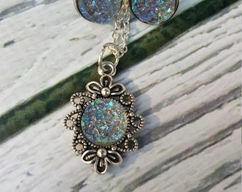 Secret Grotto Faux Druzy Gems Jewelry, Silver Druzy Gems, Rainbow Metallic Jewelry, Mermaid Grotto, Fairytale, Druzy Earrings, Druzy Pendant