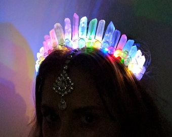 The Electric LED Crystal Crown [White Angel Aura Crystal Quartz] Electric Forest, Burning Man, EDC, PLUR, Rave, Electric Daisy Carnival