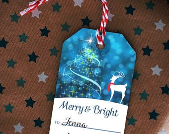 """Printable Shimmering Christmas and Reindeer in Snowy Bokeh Woods Holiday Gift Tags, 2""""x3.5"""", Set of 8 Tags, Non-Editable, Instant Download"""