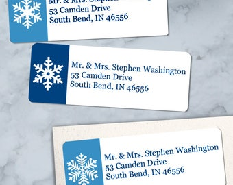 """Printable Winter Snowflakes Return Address Labels, Blue and White, 30 Personalized 2 5/8"""" x 1"""" Labels, Editable PDF, Instant Download"""