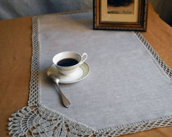 Linen doily Crochet gift Gray doily Lace doily Rustic decor Crochet doily Wedding table decor Crocheted doily Table centerpiece Rustic doily