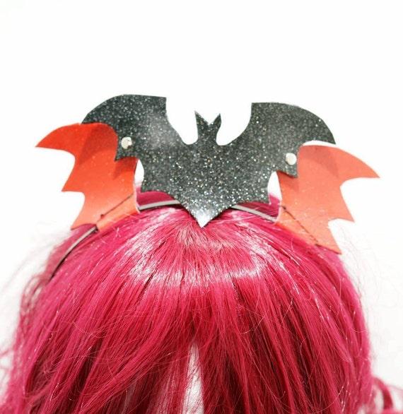 Halloween gothic bat black headband / bat pvc coating headband