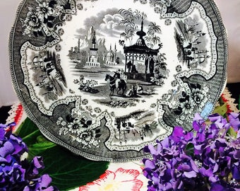 """Antique Black Transferware 9.5"""" Plate marked Palestine, Adams England - Middle Eastern Decor - Journey to Mecca"""