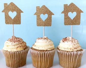 NEW Housewarming Cupcake Toppers - Housewarming Party Decor - House Cupcake  Toppers - Welcome Home Party