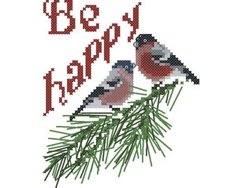 Bullfinches on the green tree cross stitch pattern, be happy cross stitch pattern PDF, cross stitch gift, winter cross stitch, embroidery