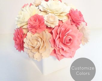 Paper Flower Arrangement | Custom Colors | Birthday Gift | Gifts for her | Floral Arrangement | Housewarming Gift |Congratulations