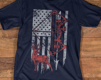 Hunting Shirt with American Flag, Bow Hunting T-shirt, American Hunter Shirt, Hunting Gear for Men and Women, Gift for Hunters TP2006