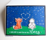 Fox Rabbit handmade valentines day card,Night sky, heart,love card,for her,for him,card for couple,Our love is written in the stars