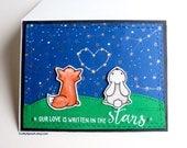 Carte de Saint Valentin à la main renard lapin, ciel nocturne, cœur, carte d'amour, pour elle, pour lui, carte pour couple, notre amour est écrit dans les étoiles