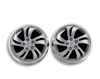 Hubcap Stud Earrings Wheel Cover Earrings 12mm Hubcap Earrings Hubcap Jewelry