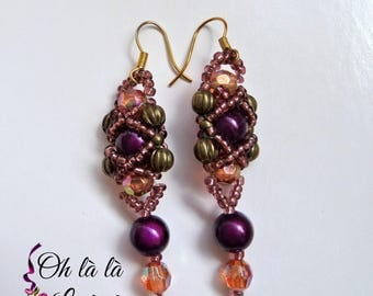 Earrings Burgundy - Vintage Style, Gothic, Fantasy