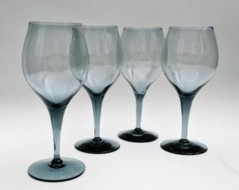 "Smoke Crystal Wine Glasses Smoke Blue Gray Swank Stemware Barware Vintage Retro Smoke Glasses 6 1/2"" (4)"