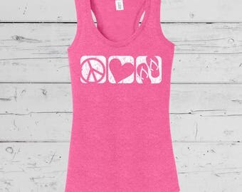 """Summer Beach Wear """"Peace Love Flip Flop"""", Up Beat Summer Collection, Soft comfy Ladies Tees, Tanks and Vnecks. You pick your style."""