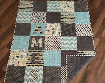 Baby quilt handmade etsy ca minky baby quilt personalized handmade crib quilt personalized baby gift negle Choice Image