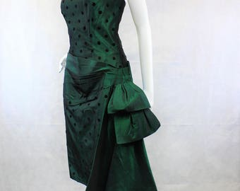 1980's Strapless Wiggle Dress | Metallic Blue Taffeta | Black Velvet Polka Dot| Waist Stash and 3D Bow Sash| Nadine| Small | Prom