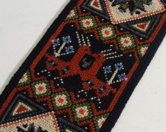 Swedish Vintage folk embroidered hanging tapestry Mid century wall decor