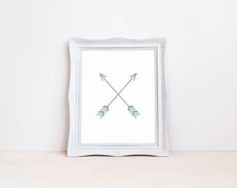 "Crossed Arrows Nursery Print || 8""x10"" DIGITAL DOWNLOAD || Arrow Wall Decor Sign || Boy Nursery Prints || Boy Room Decorations, Wall Art"