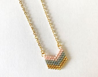 """Necklace """"Vacation at the Opera"""" with gold chain and pendant in beads Miyuki done hand weaving"""