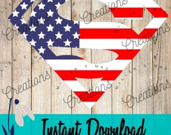 American Superman Stars and Stripes SVG Patriotic, Independence Day, Freedom, American Flag, America, Memorial Day, Red, White, and Blue