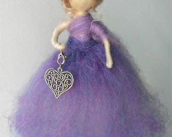 Valentine Heart Wool Fairy with Removable Silver Pendant (purple)