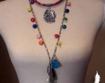 Tassel strand necklace, Colorful Ibiza collier and long tassel necklace with Indian pendant and howlite multicolor beads
