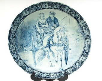 Large Boch Delfts plate, 15 inches, J. Sonneville, Royal Sphinx, wall plate, Blue and White pottery