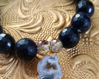 Storm at Night ~ Stretch Stack Bracelet in Blue, Black, Crystal, Gold Druzy