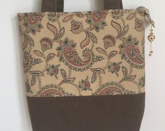 Large Shoulder Tote Ralph Lauren Paisley and Loden Green Denim Tote Work Travel Bag
